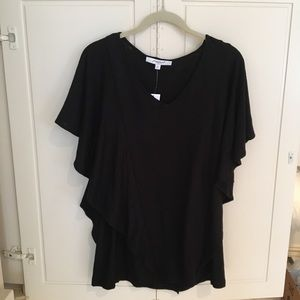 NWT Foxcroft Kendall Black Flouncy T Shirt Medium
